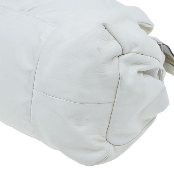 Gucci White Leather Medium Hysteria Tote