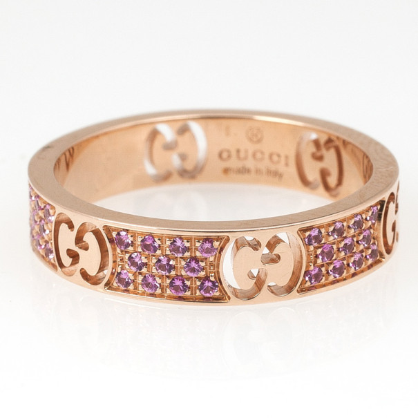 Gucci Stardust Pink Sapphires Rose Gold Thin Band Ring Size 53