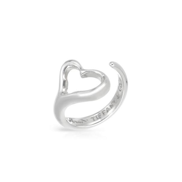 Tiffany & Co. Elsa Peretti Open Heart Silver Ring Size 52