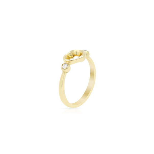 Tiffany & Co. Elsa Peretti Open Heart Diamond Gold Ring Size 50.5