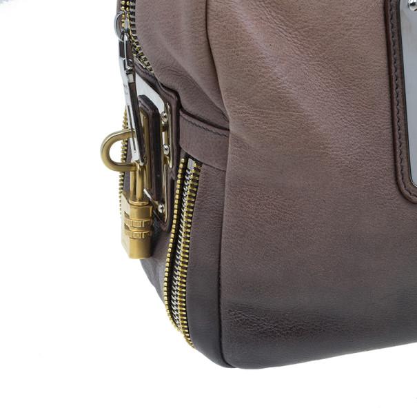 Prada Beige & Brown Ombre Glace Leather Zipper Satchel
