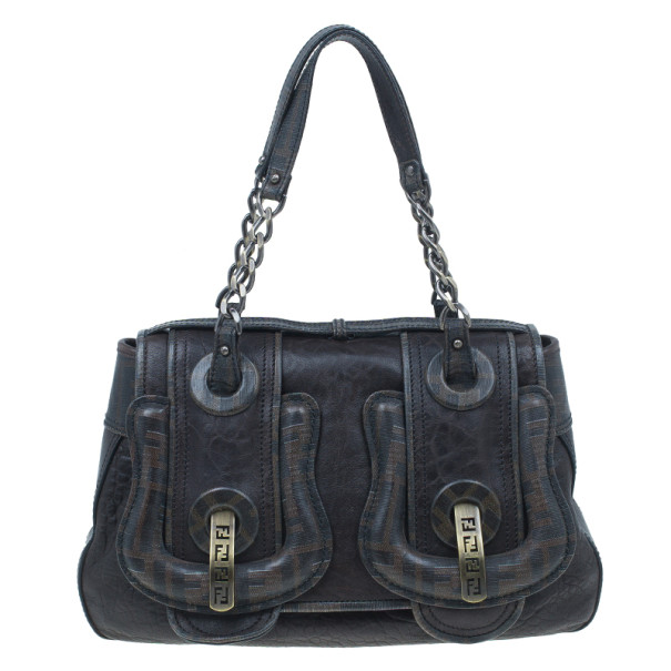 Fendi Brown Zucca Leather and Coated Canvas Trim B Bag