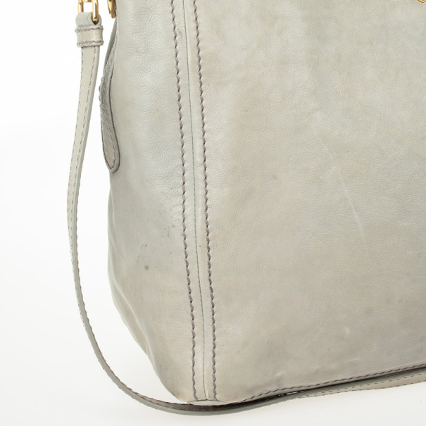 Prada Grey Leather Soft Top Handle Tote