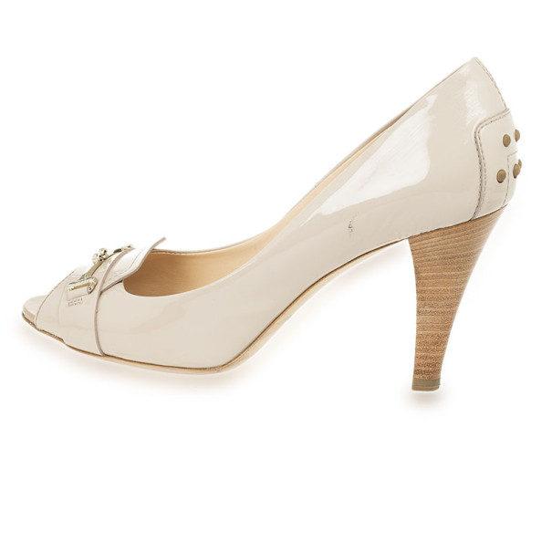 Tod's Beige Patent Leather Gommini Peep Toe Pumps Size 38