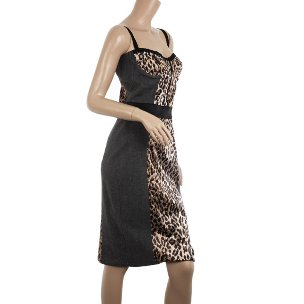 D and G Vintage Leopard Bustier Dress L