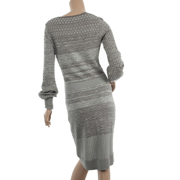 Christian Lacroix Grey Knit Dress M