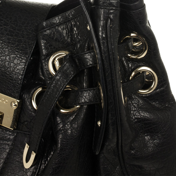 Jimmy Choo Black Riki Stamped Leather Shoulder Bag