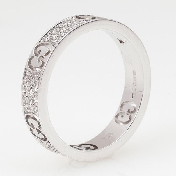 Gucci Stardust Diamond White Gold Thin Band Ring Size 53