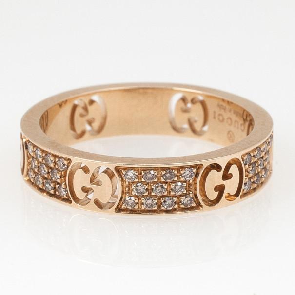 Gucci Stardust Diamond Yellow Gold Thin Band Ring Size 52