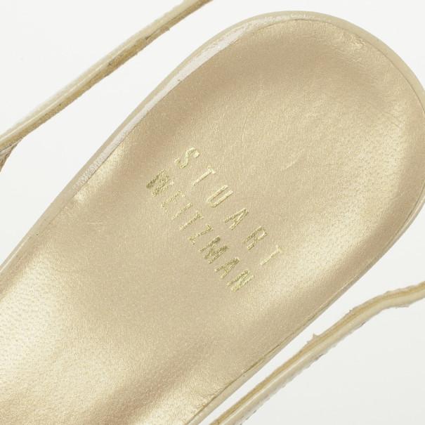 Stuart Weitzman Nude Patent Peekaboo Slingback Sandals Size 36.5