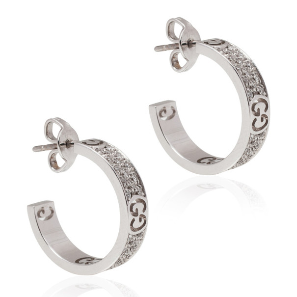 Gucci Diamond 18 K White Gold Hoop Earrings