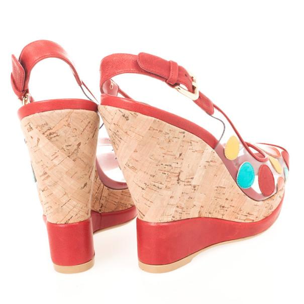 Stuart Weitzman Red Hokuspocus Slingback Wedges Sandals Size 38.5