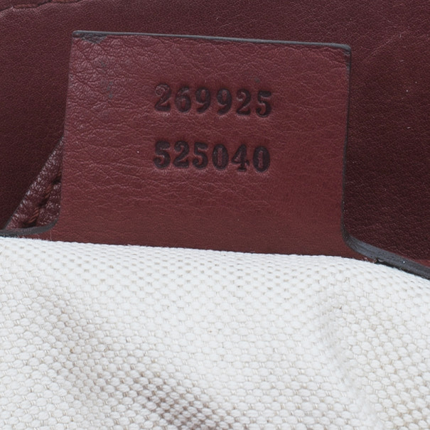 Gucci Burgundy Calfskin Leather Smilla Tote