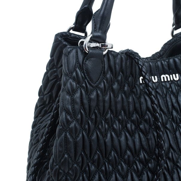 Miu Miu Black Cloquet Nappa Leather Bag