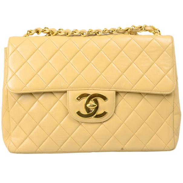 Chanel Beige Lambskin XL Jumbo Flap Bag