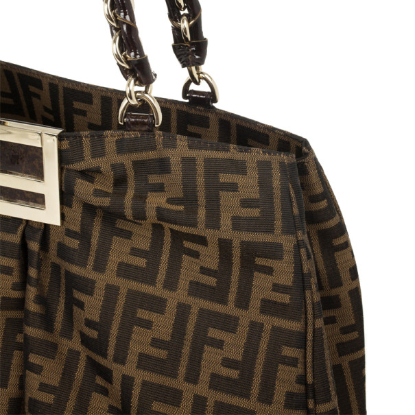 Fendi Brown Mia Metallic Zucca Shoulder Bag