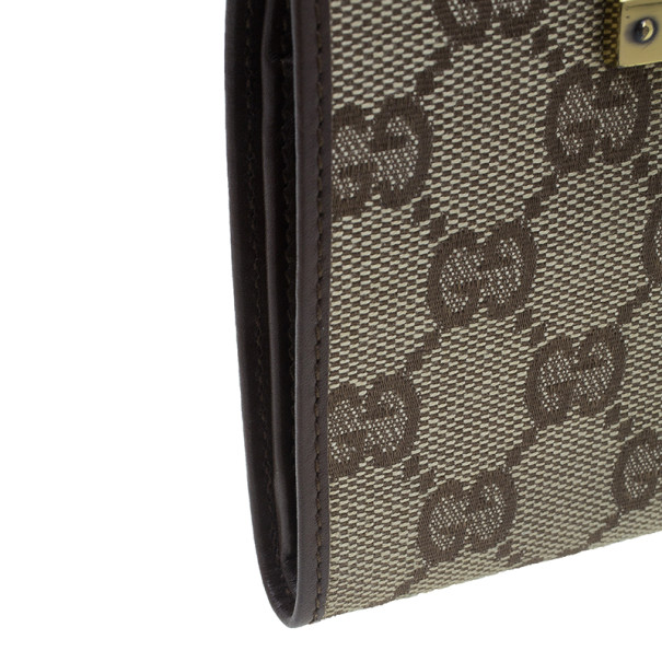 Gucci Brown Monogram Canvas Guccissima Bi Fold Wallet