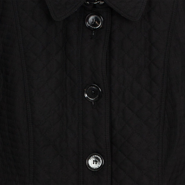 Burberry Black Quilted Long Trench Coat S