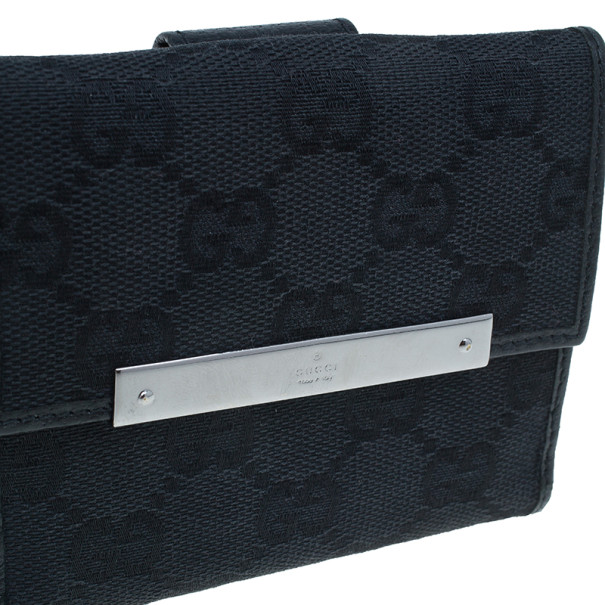 Gucci Black GG Canvas French Flap Wallet