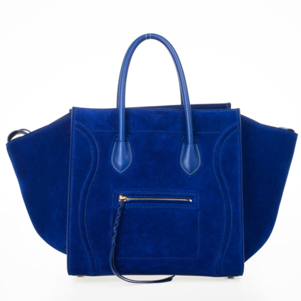 Celine Electric Blue Suede Phantom Large Bag