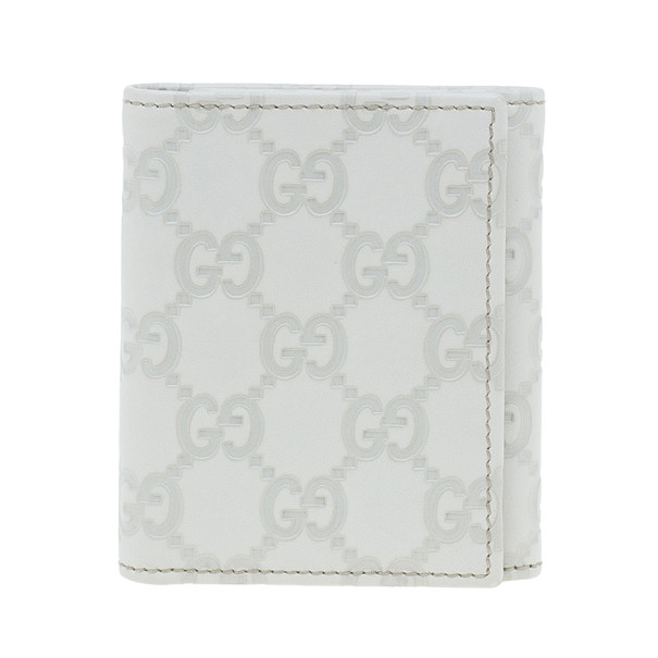 Gucci White Leather Guccissima Compact Wallet
