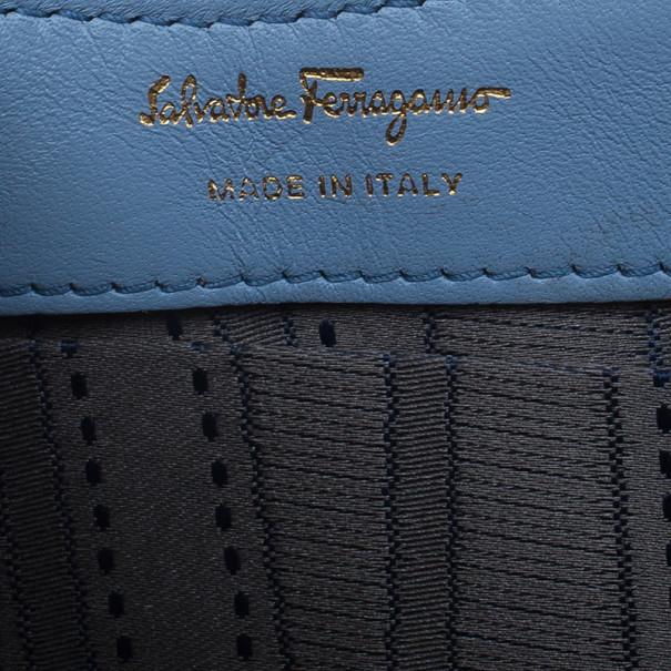 Salvatore Ferragamo Blue Patent Vara Piuma Clutch