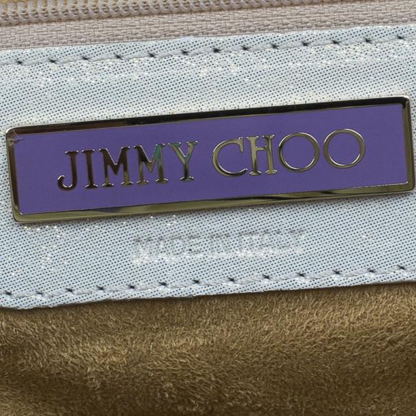 Jimmy Choo Metallic Gold Leather Mave Foldover Clutch