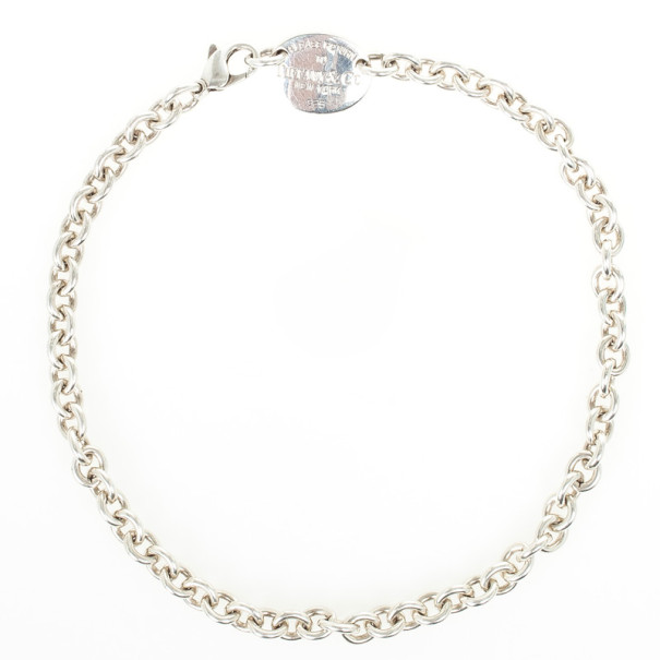 Tiffany & Co. Return to Tiffany Silver Oval Tag Necklace