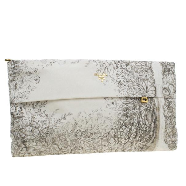 Prada Beige Flower Print Fabric Zip Clutch