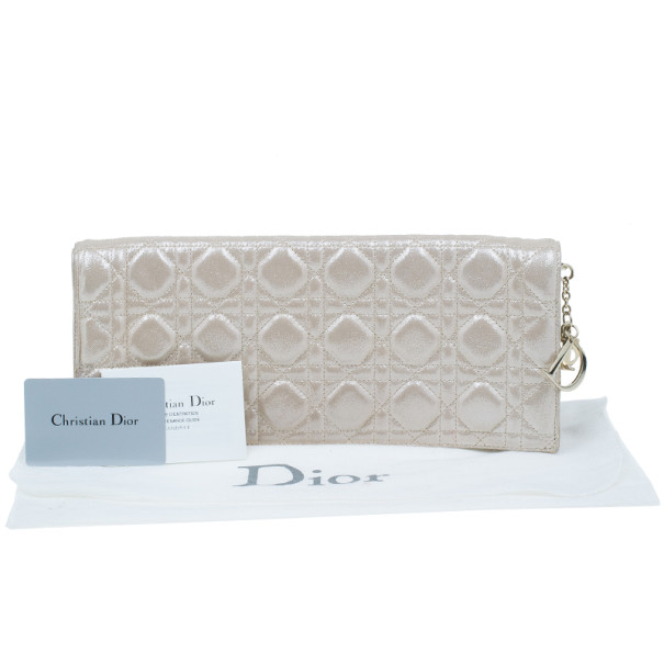 Dior Metallic Gold Leather Cannage Folded Clutch