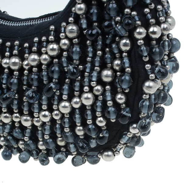 Chloe Black and Silver Beaded Fabric Crescent Hobo
