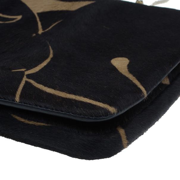Valentino Black Calf Hair Rockstud Panther Print Hand Bag
