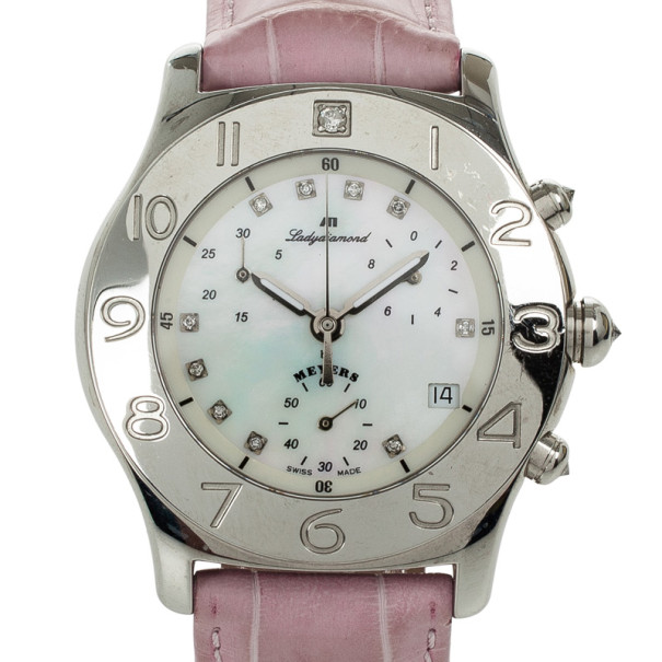 Meyers Samba Mother of Pearl SS Leather Chronograph Womens Wristwatch 39 MM