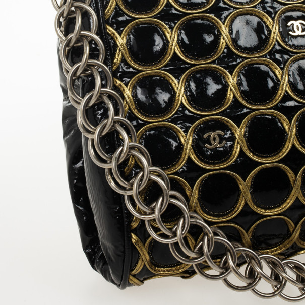 Chanel Black Patent and Gold Chain Handbag