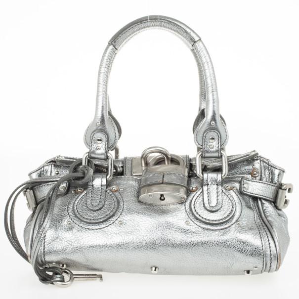 Chloe Silver Leather Paddington Satchel