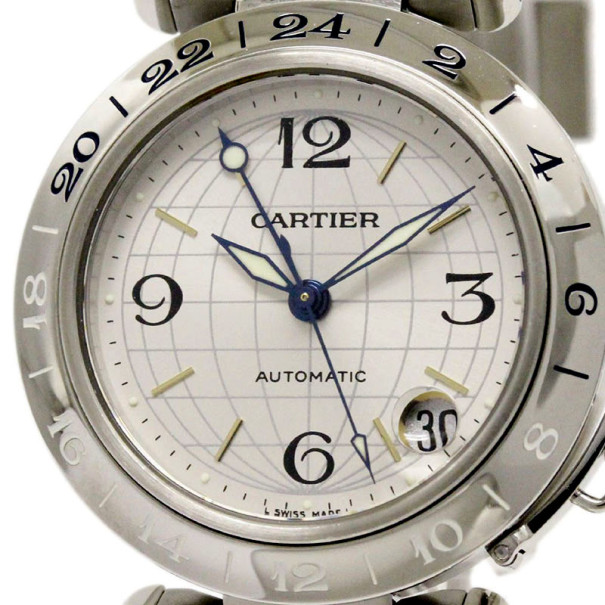 Cartier White Stainless Steel Pasha C Meridian Unisex Wristwatch 35MM