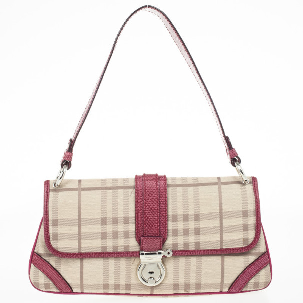 Burberry Beige Peyton Haymarket PVC Shoulder Bag