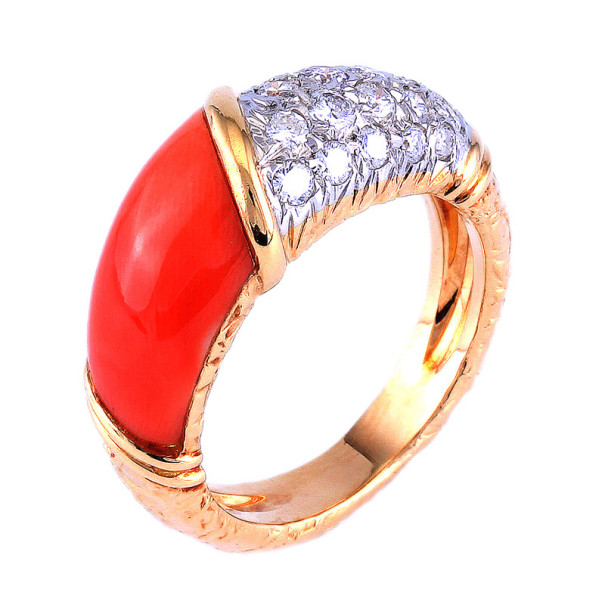 Van Cleef & Arpels Coral Pave Diamond 18K Yellow Gold Ring Size 49