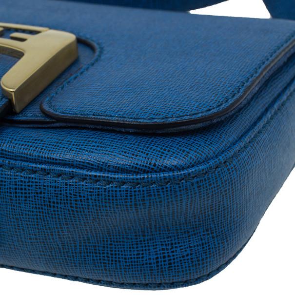 Fendi Blue Crosshatched Leather Mini Chameleon Crossbody