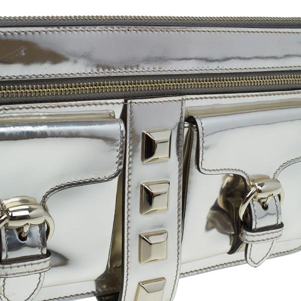 Gucci Silver Metallic Patent Wristlet