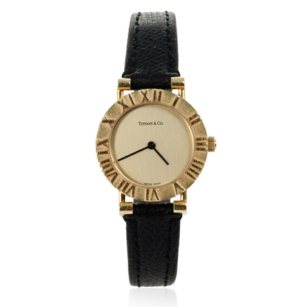 Tiffany & Co. Atlas 18K Yellow Gold Leather Unisex Wristwatch 31.5 MM