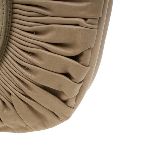 Dior Beige Lambskin Plisse Pleated Top Handle Satchel