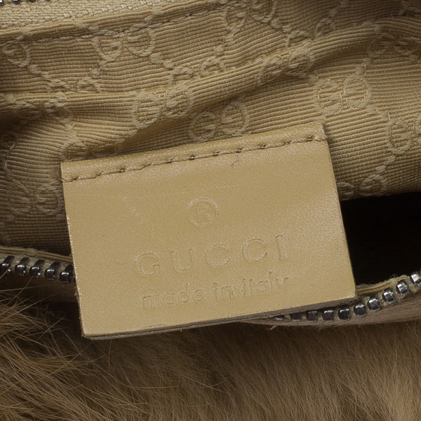 Gucci Brown Rabbit Fur Pochette