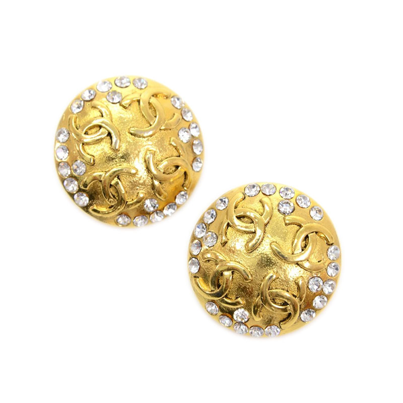 Chanel CC Crystal Gold Tone Clip On Earrings