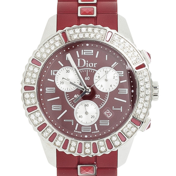 Christian Dior Christal Diamond & Sapphire Womens Chronograph 38MM