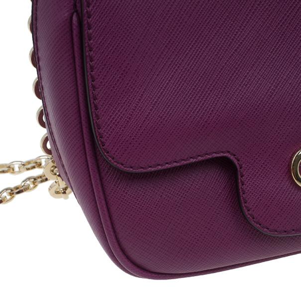 Salvatore Ferragamo Purple Saffiano Leather Gancini Icona Vit Paris Crossbody