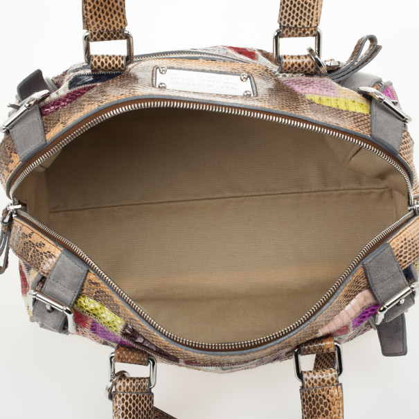 Dolce and Gabbana Miss Easy Way Ayers Snakeskin Patchwork Satchel