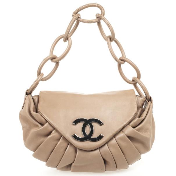 Chanel Tan Lambskin Pleated Flap Bag Taupe