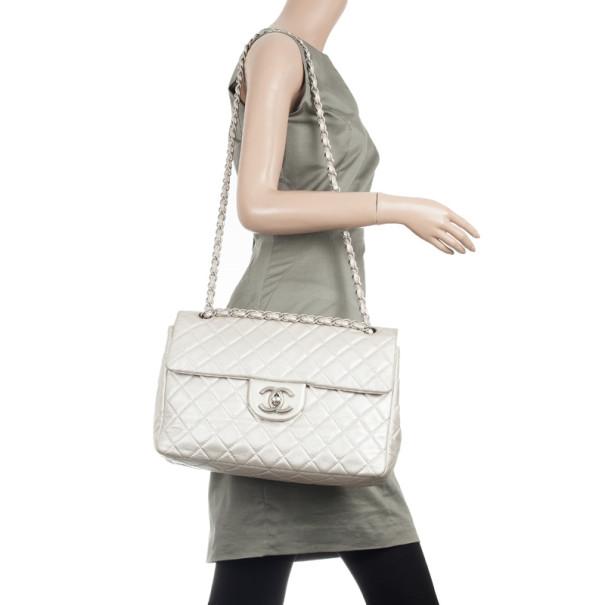 Chanel Silver Lambskin Classic Maxi Flap