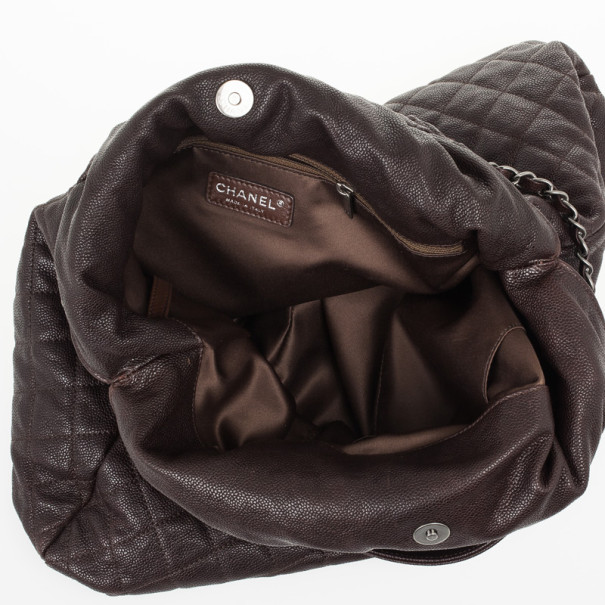 Chanel Brown Leather Quilted Hobo